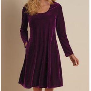 Soft Surroundings Purple Velvet Pocket Long Sleeve